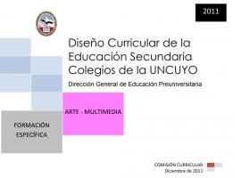 DISEÑO CURRICULAR: FORMACIÓN ESPECÍFICA: Arte Multimedia
