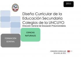 DISEÑO CURRICULAR: FORMACIÓN GENERAL: Ciencias Naturales
