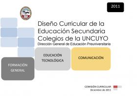 DISEÑO CURRICULAR: FORMACIÓN GENERAL: Educación Tecnológica - Comunicación
