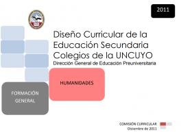 DISEÑO CURRICULAR: FORMACIÓN GENERAL: Humanidades